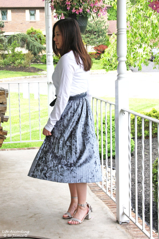 Blue Velvet Pleated Midi Skirt 11