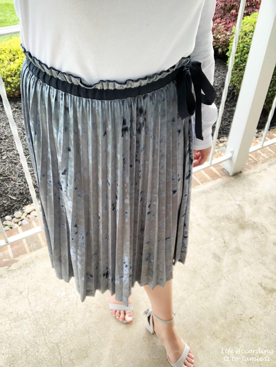 Blue Velvet Pleated Midi Skirt 2