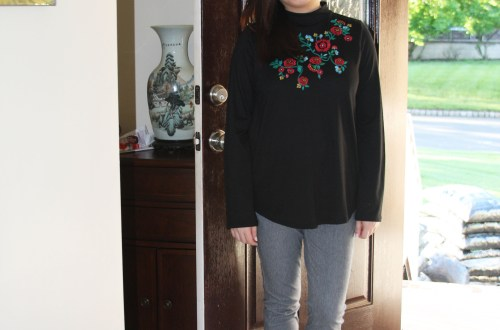 Floral Embroidered Mock Neck