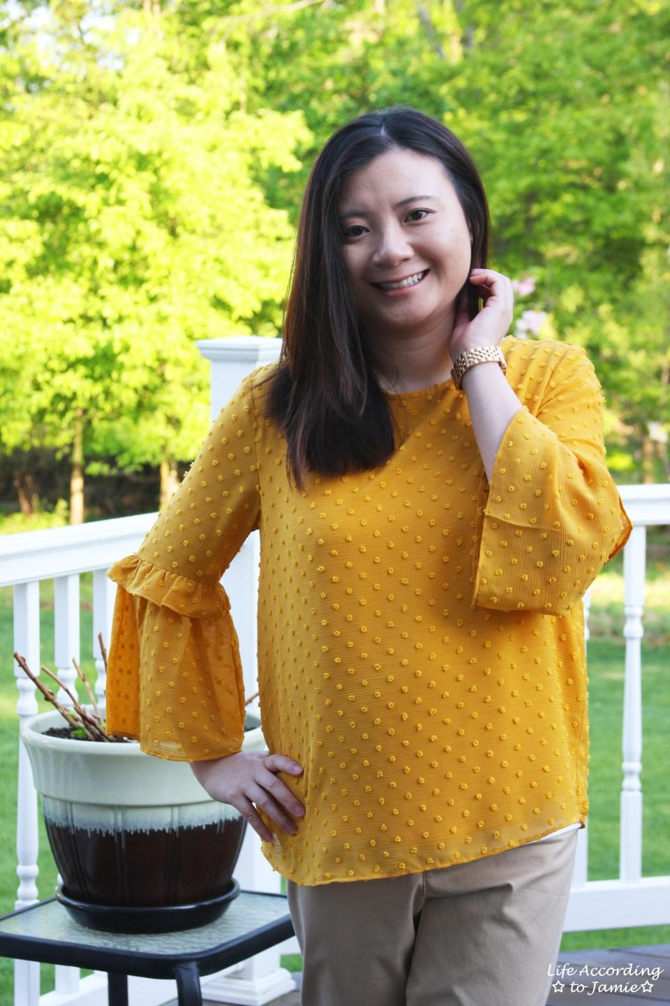 French Knot Mustard Blouse 3