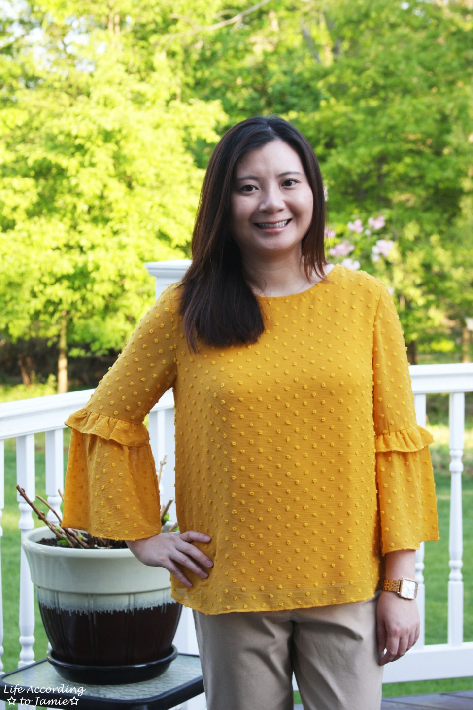 French Knot Mustard Blouse 5
