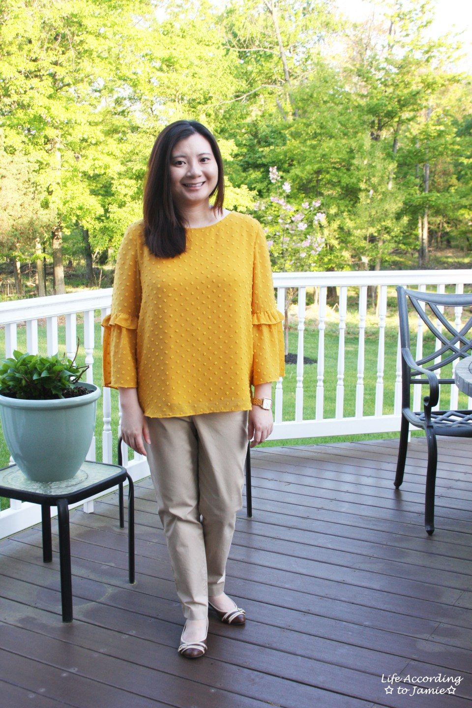 French Knot Mustard Blouse 8