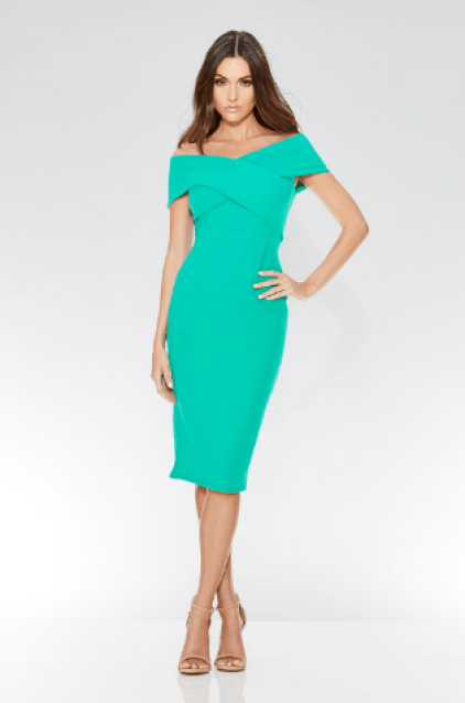 Jade Green Crepe Cross Over Bardot Midi Dress