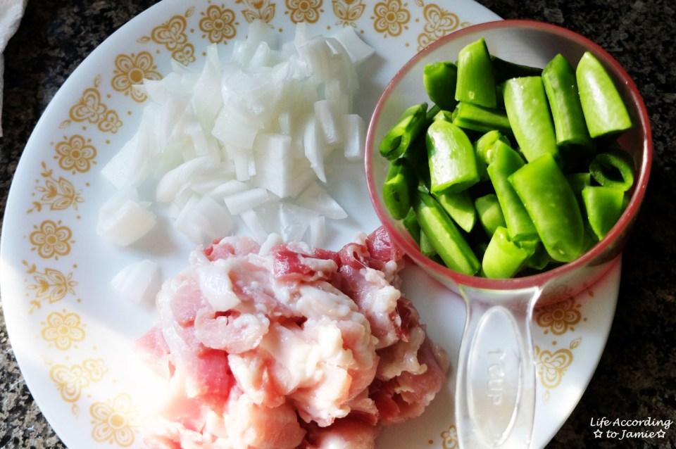 Onions + Bacon + Sugar Snap Peas