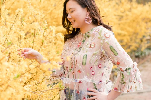 Sheer Floral Embroidered Peplum