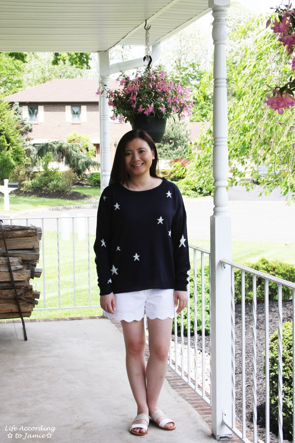 Star Sweater + White Scalloped Shorts 4