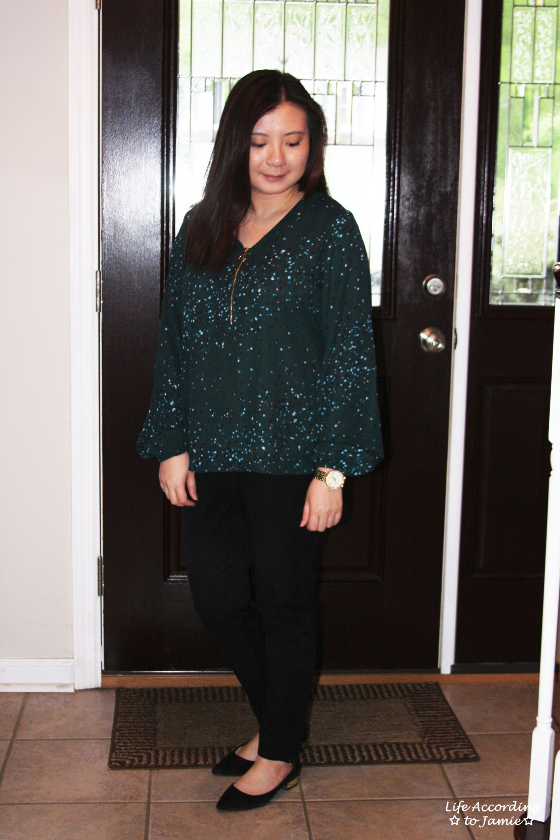 Teal Dot Front Zip Blouse