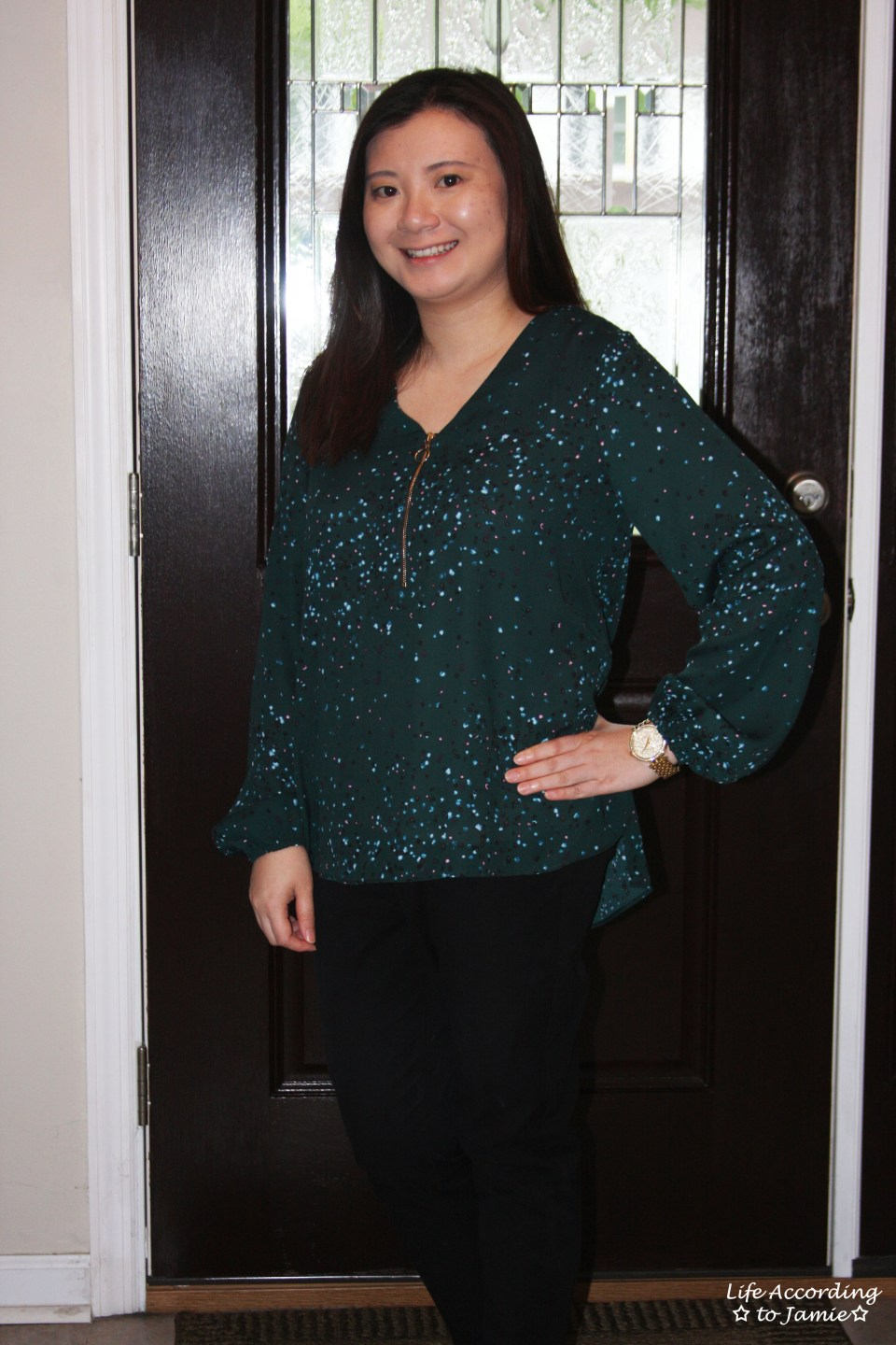 Teal Dot Front Zip Blouse 6