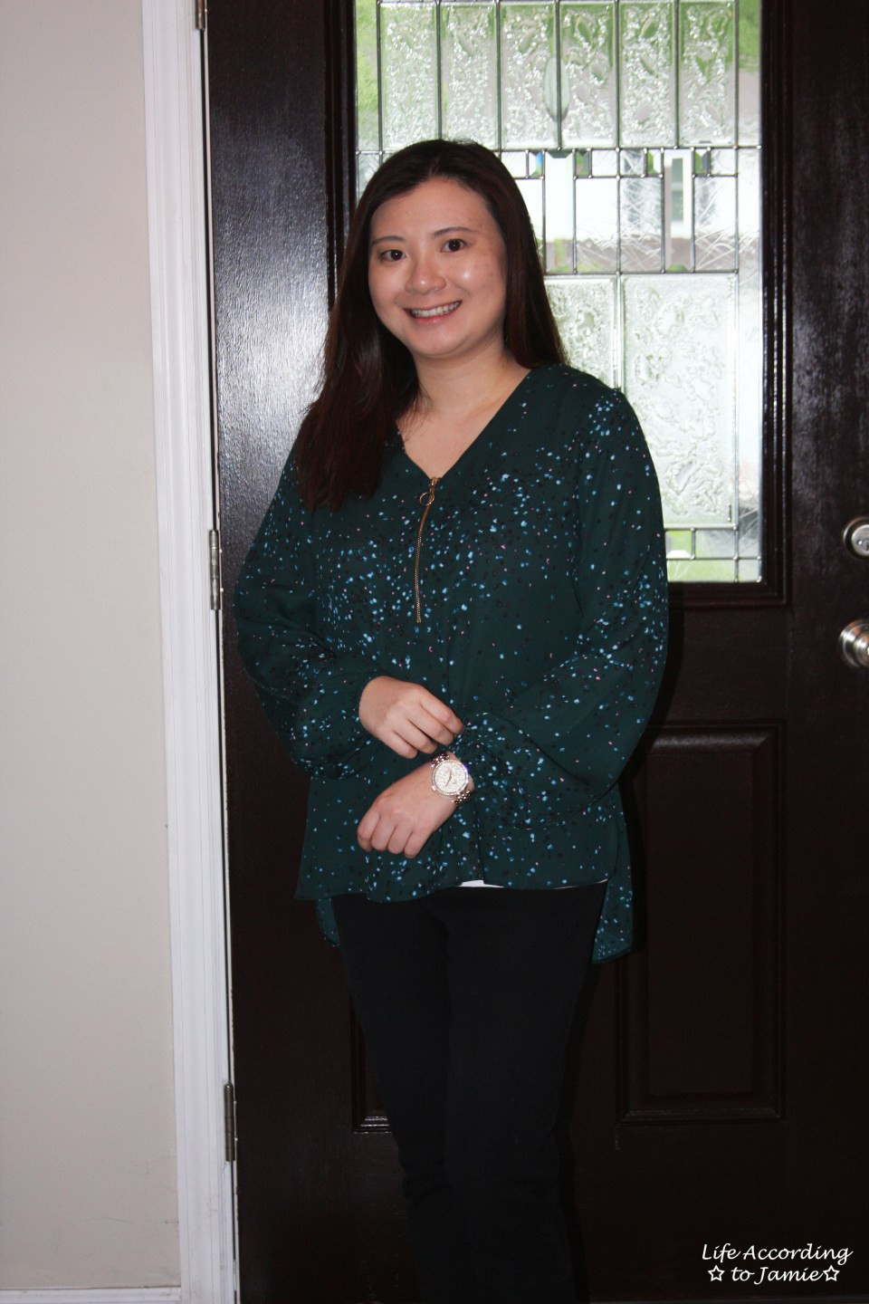 Teal Dot Front Zip Blouse 7