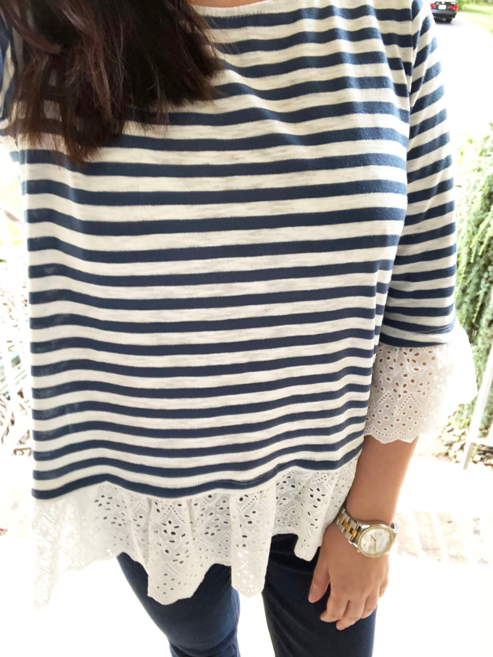 Blue Stripes + Eyelet Trim 14