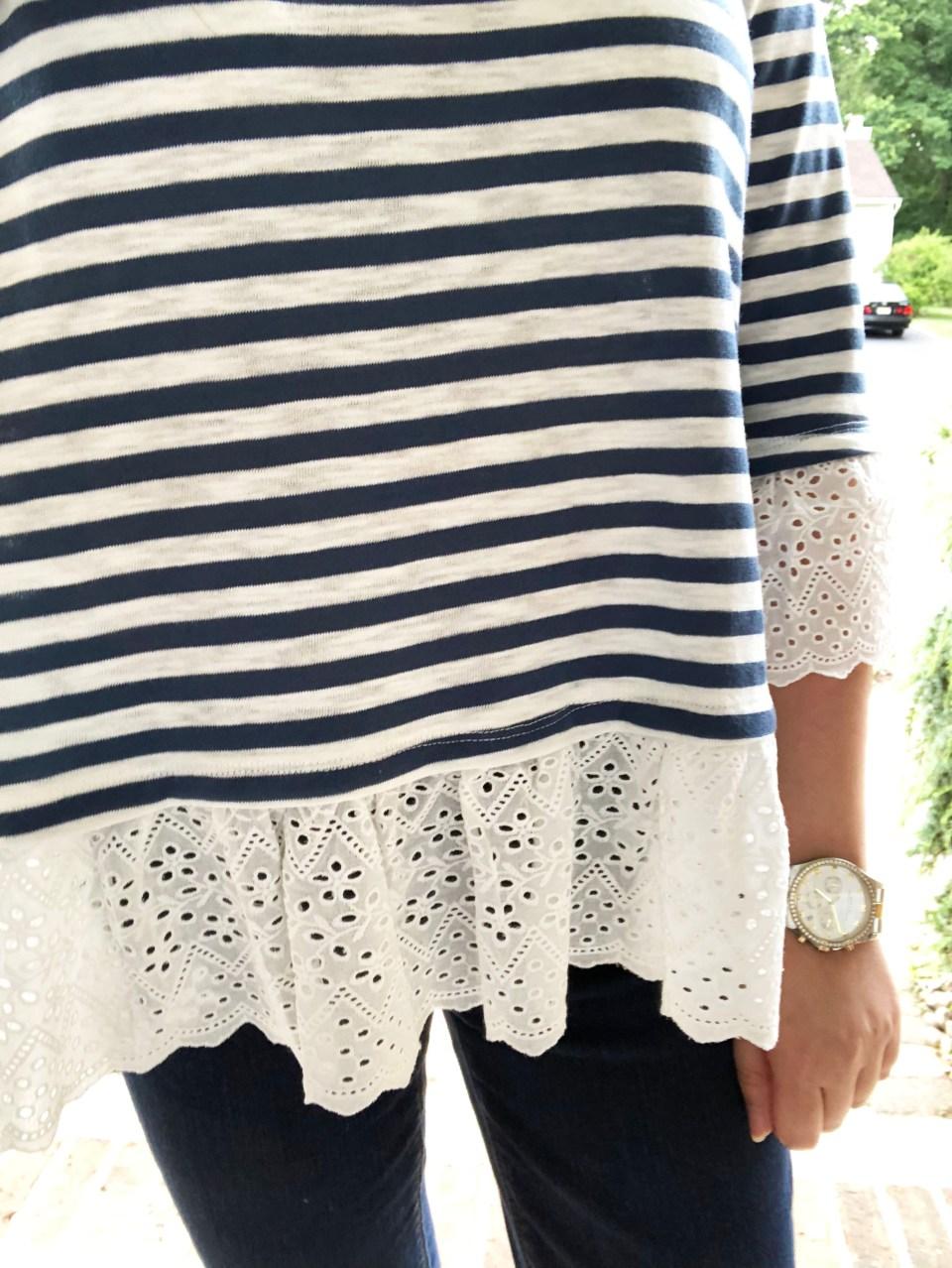 Blue Stripes + Eyelet Trim 15