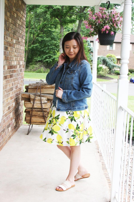 Lemon Print Dress + Denim Jacket 4