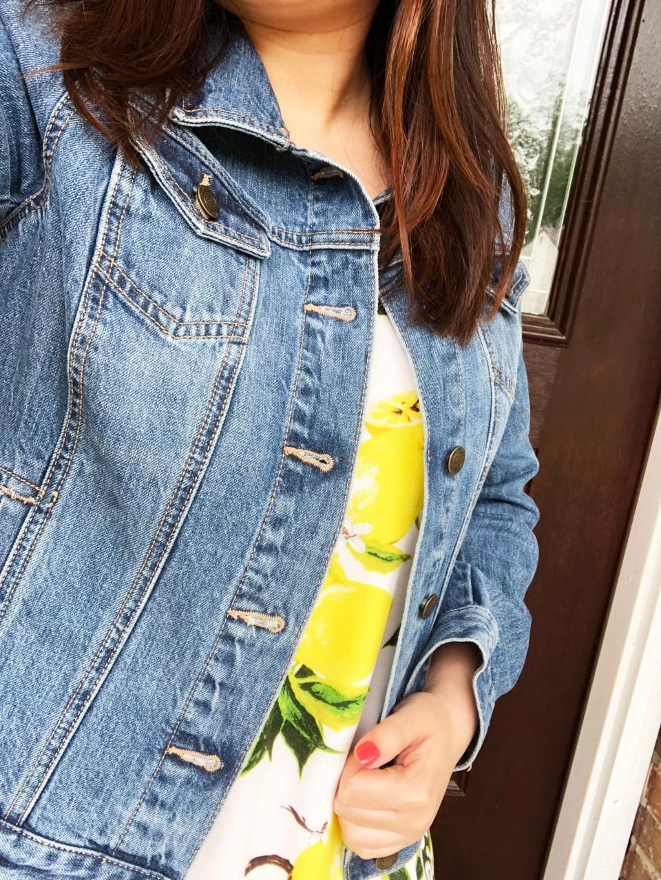 Lemon Print Dress + Denim Jacket 9