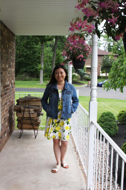 Lemon Print Dress + Denim Jacket