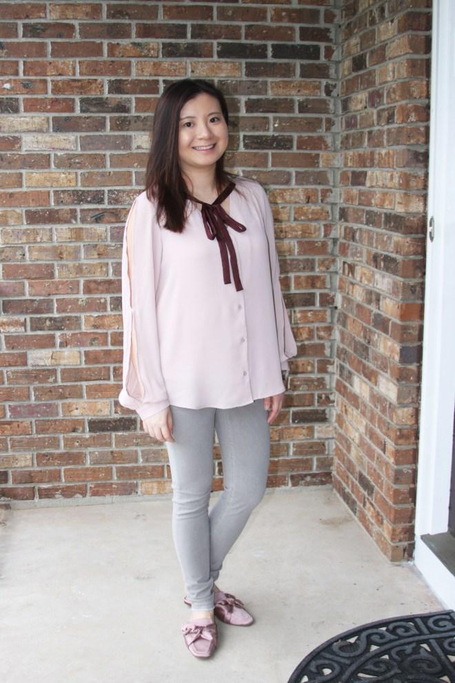 Pink + Maroon Necktie Blouse 6