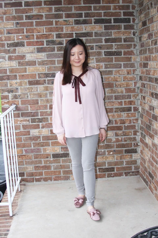 Pink + Maroon Necktie Blouse 9