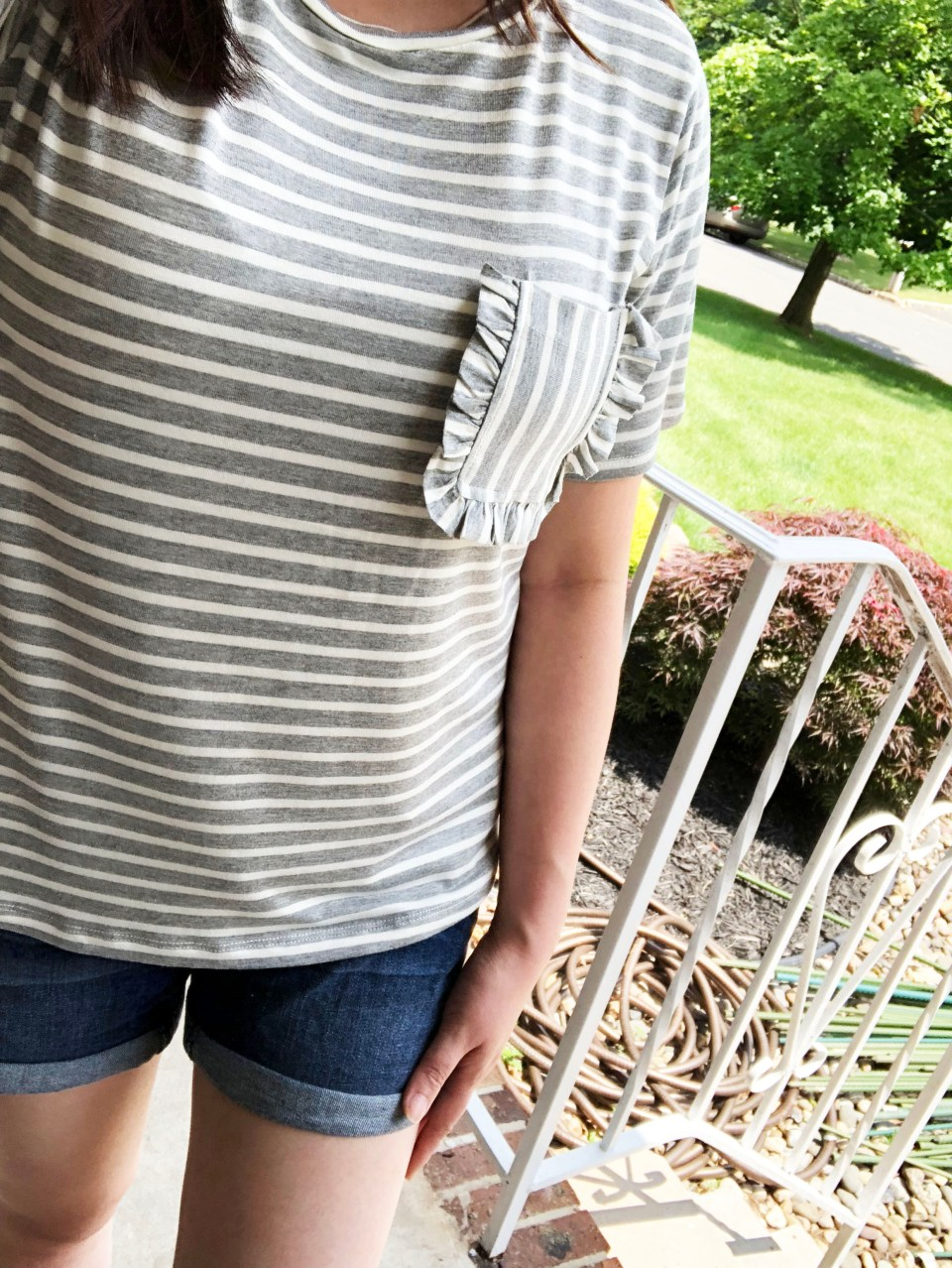 Striped Ruffle Pocket Tee 12