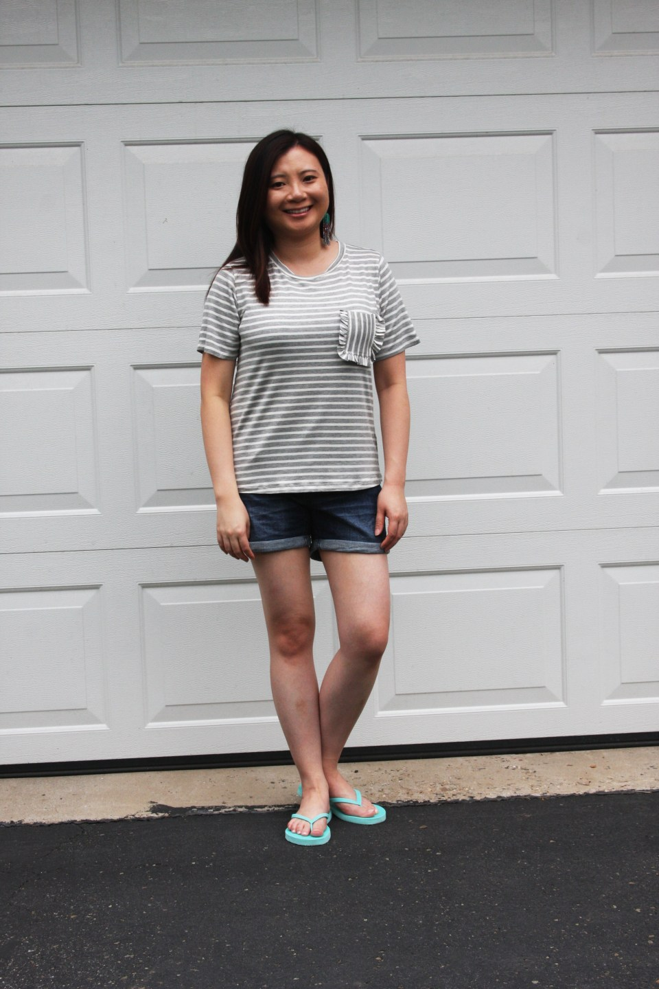 Striped Ruffle Pocket Tee 2