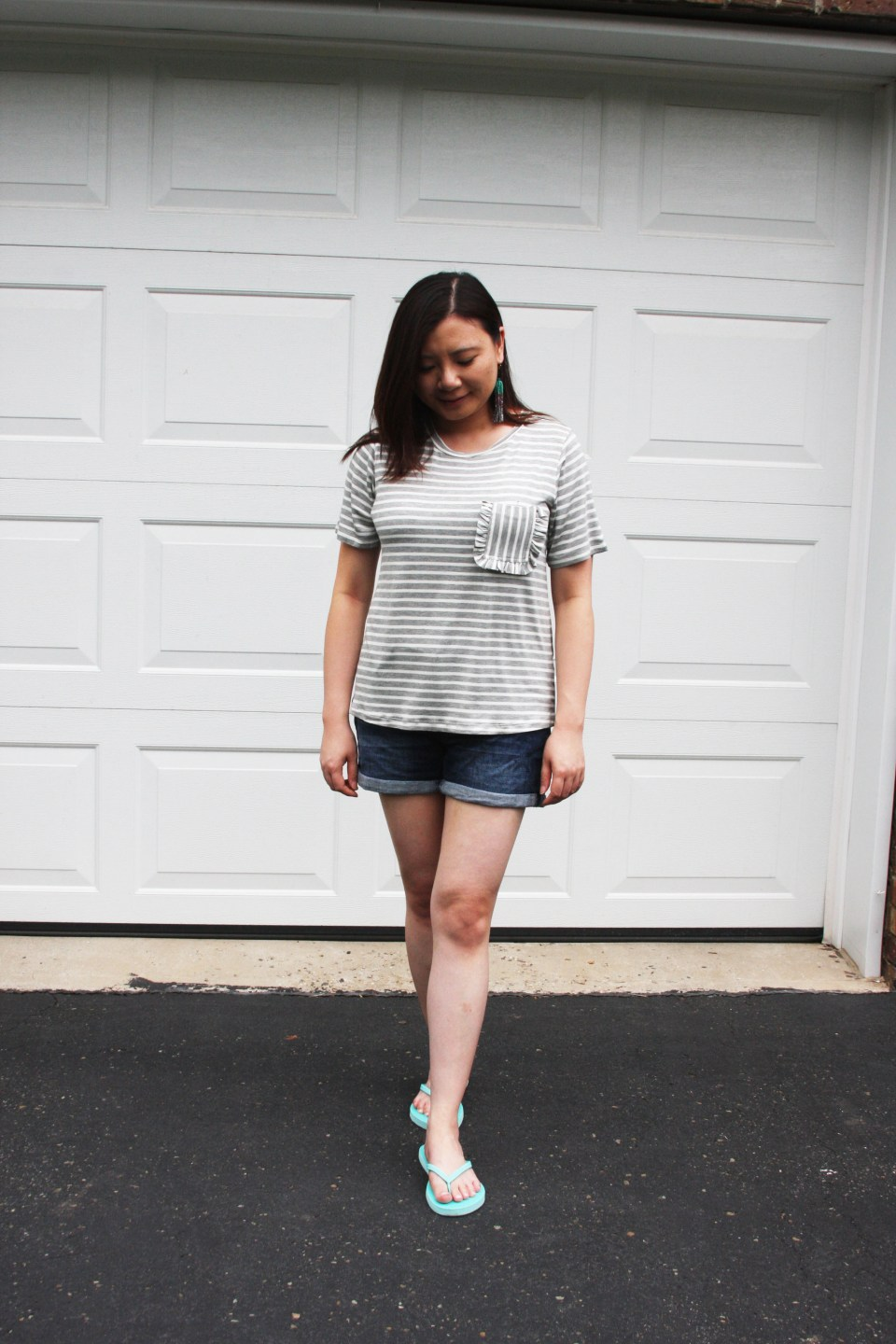 Striped Ruffle Pocket Tee 8