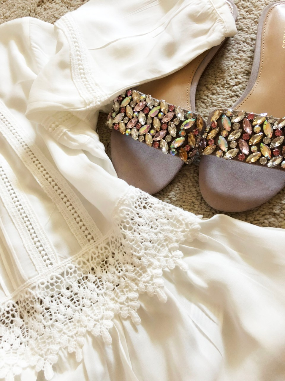 Woven Detail Top + Jeweled Slides 1