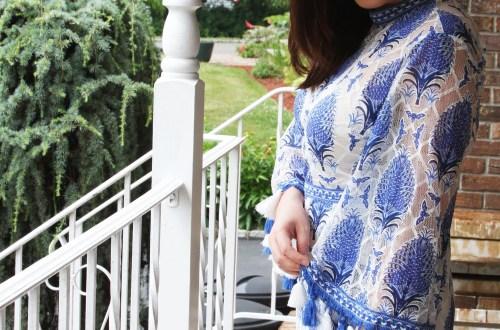 Blue & White Tassel Romper