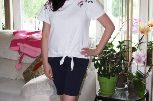 Embroidered Tie Front Tee