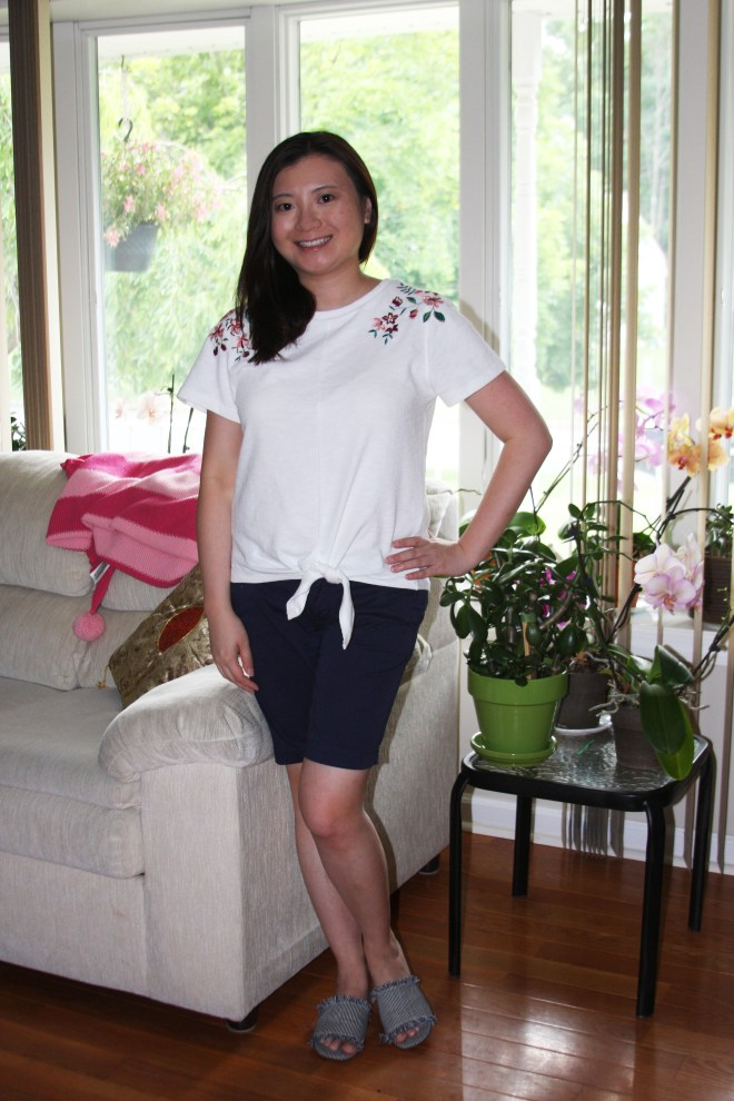 Embroidered Tie Front Tee 3