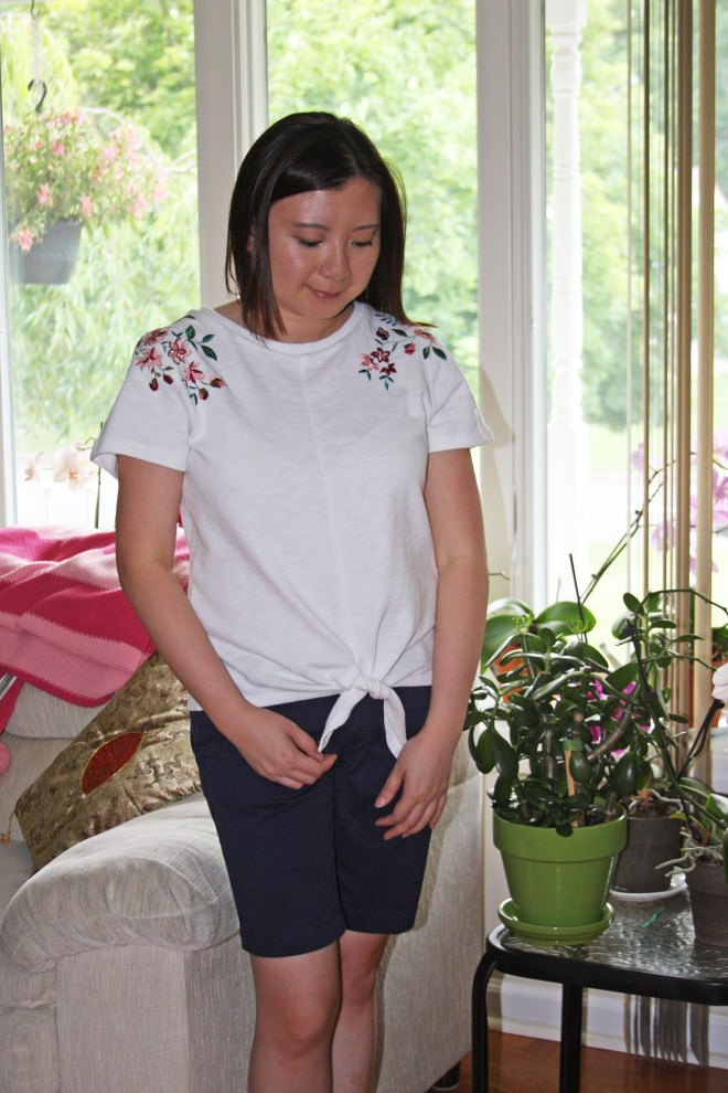 Embroidered Tie Front Tee 5