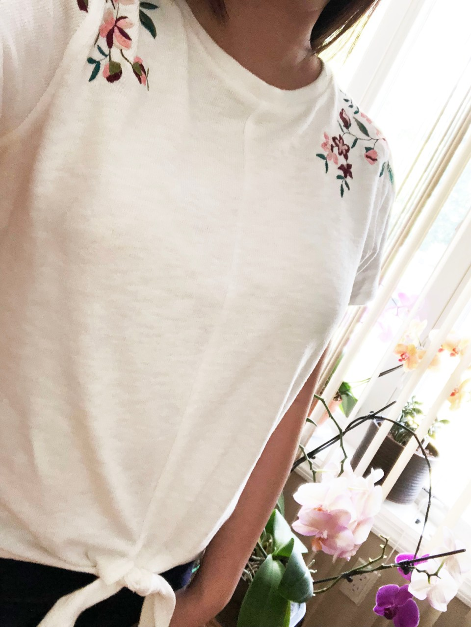 Embroidered Tie Front Tee 8