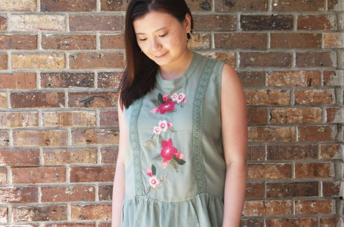 Floral Embroidered Olive Peplum