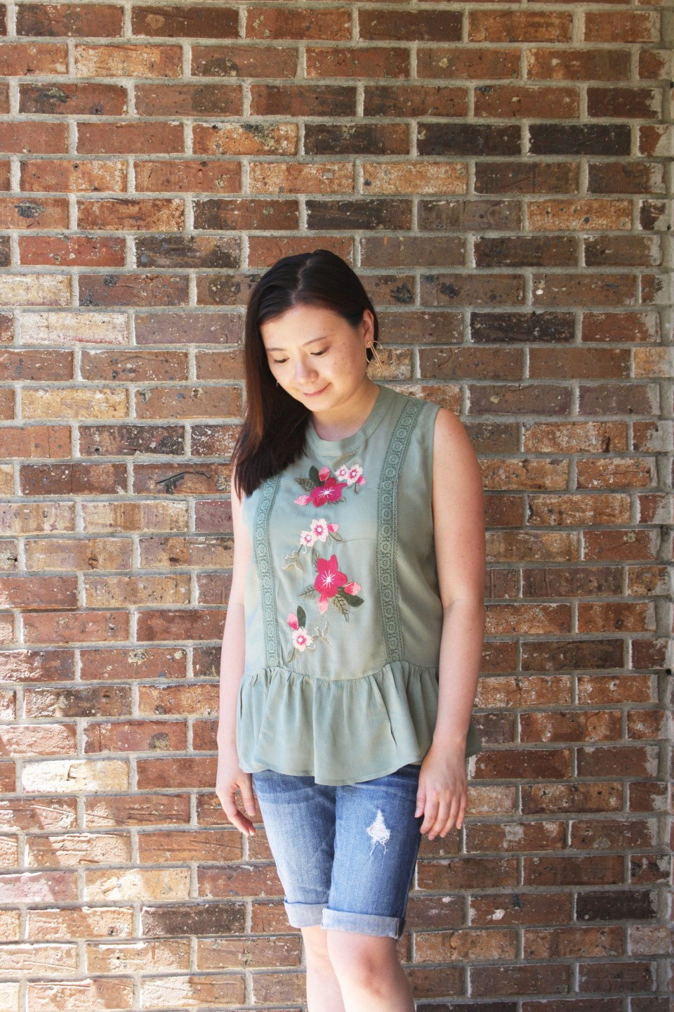 Floral Embroidered Olive Peplum 2