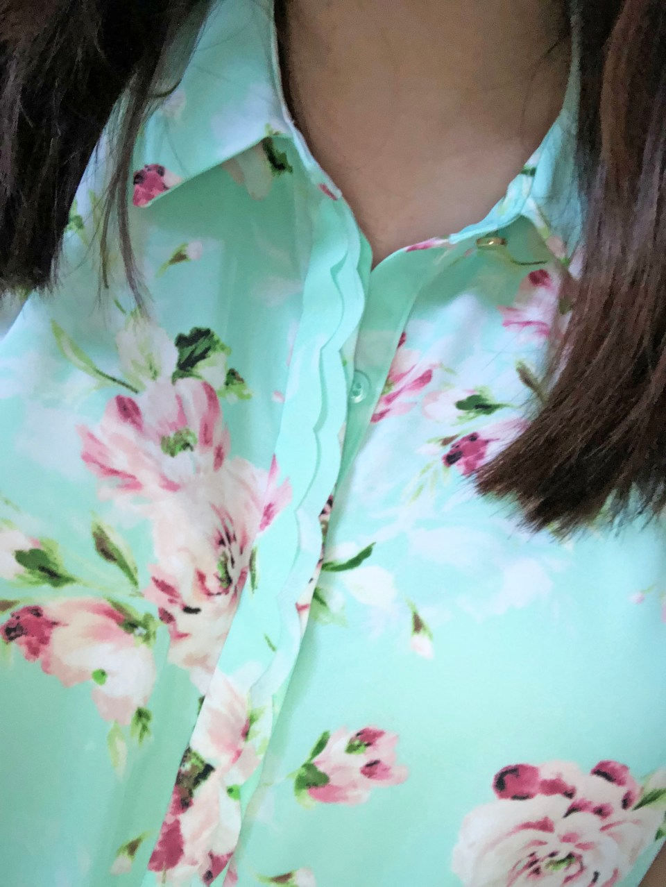 Floral Scalloped Trimmed Blouse 1