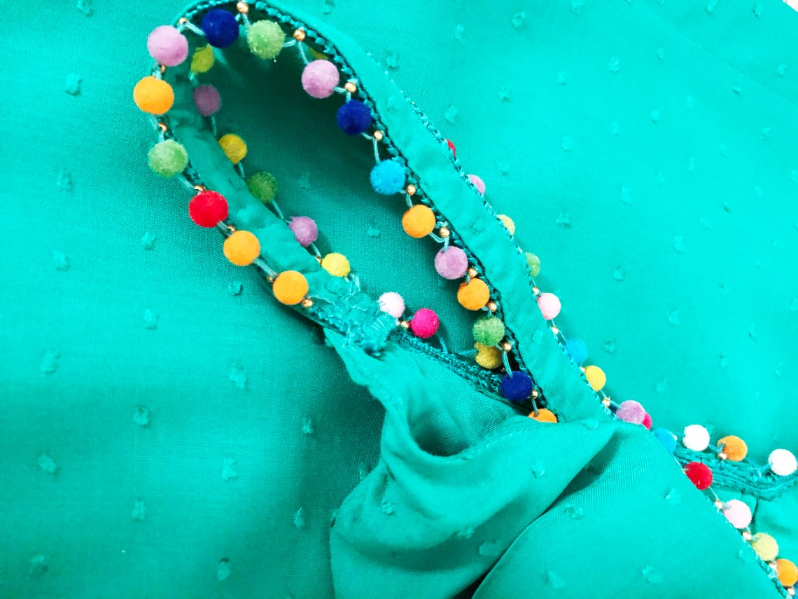 Mini Pompom Trim Dress