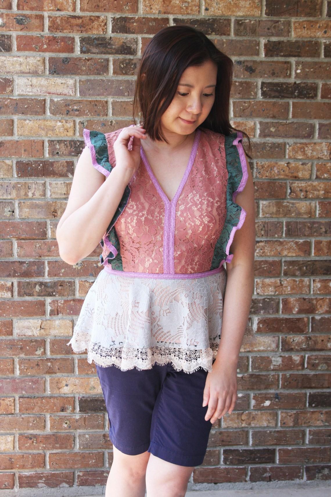 Multicolor Lace Peplum