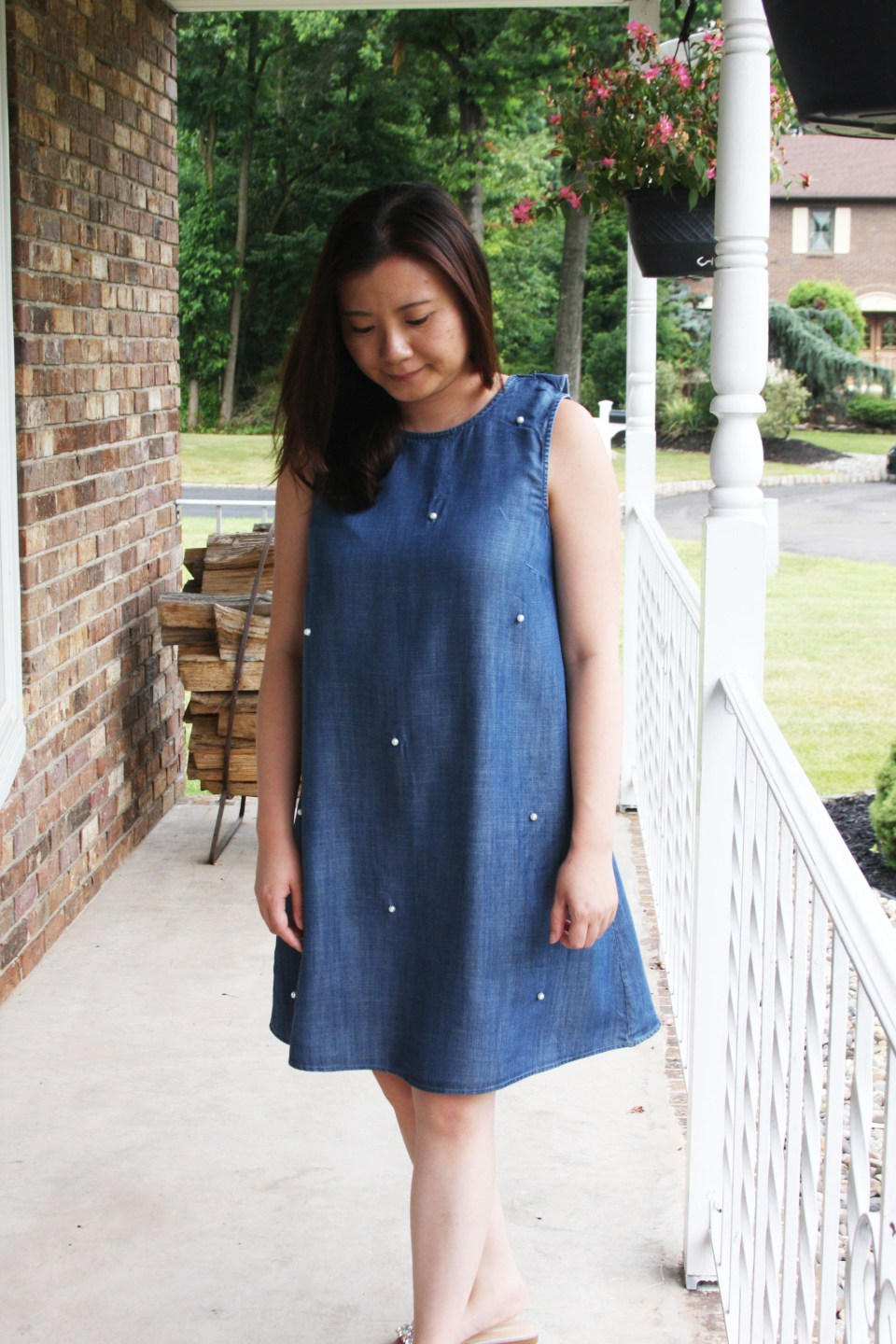 Pearl Embellished Chambray Dress 11