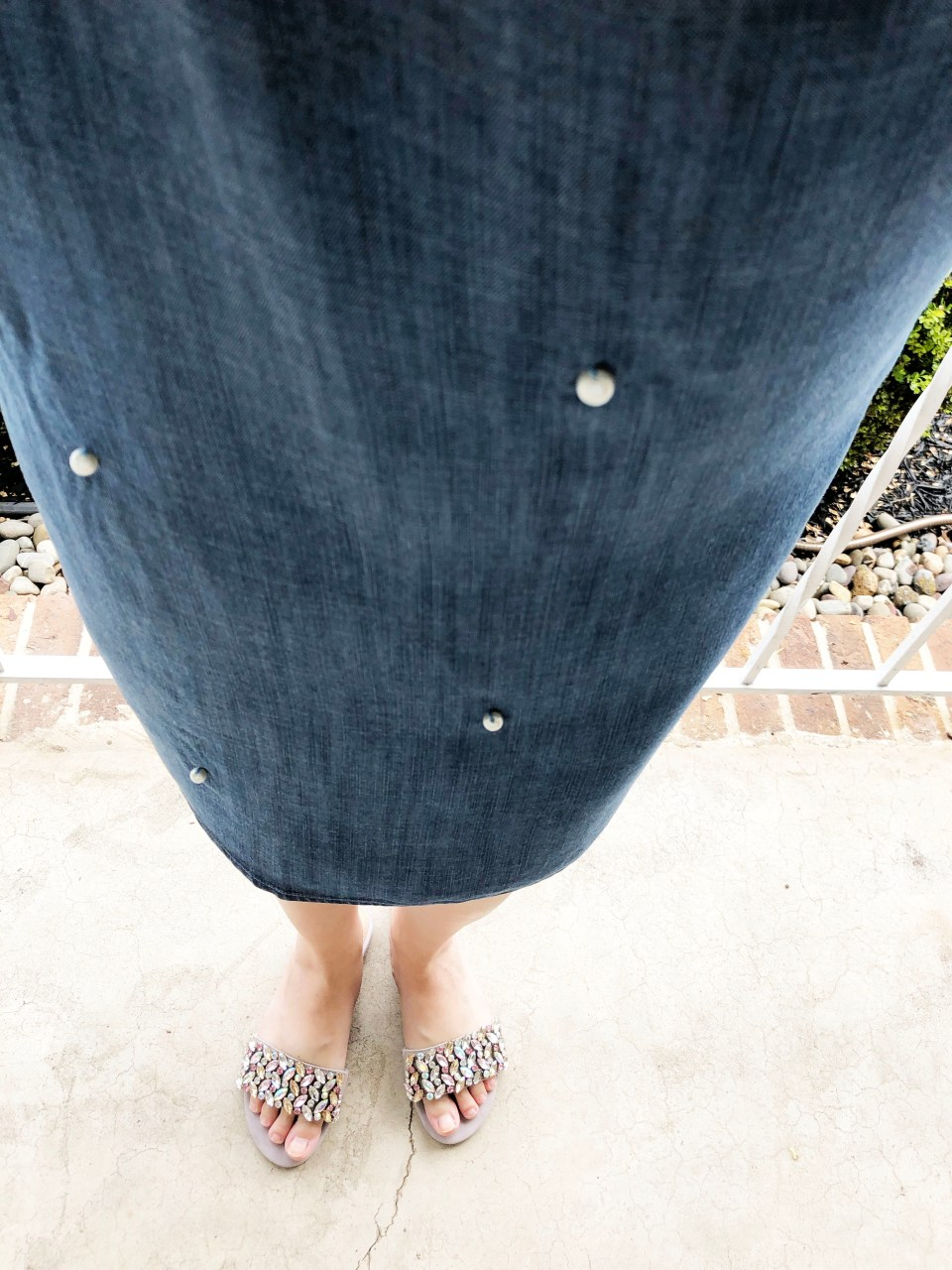 Pearl Embellished Chambray Dress 12