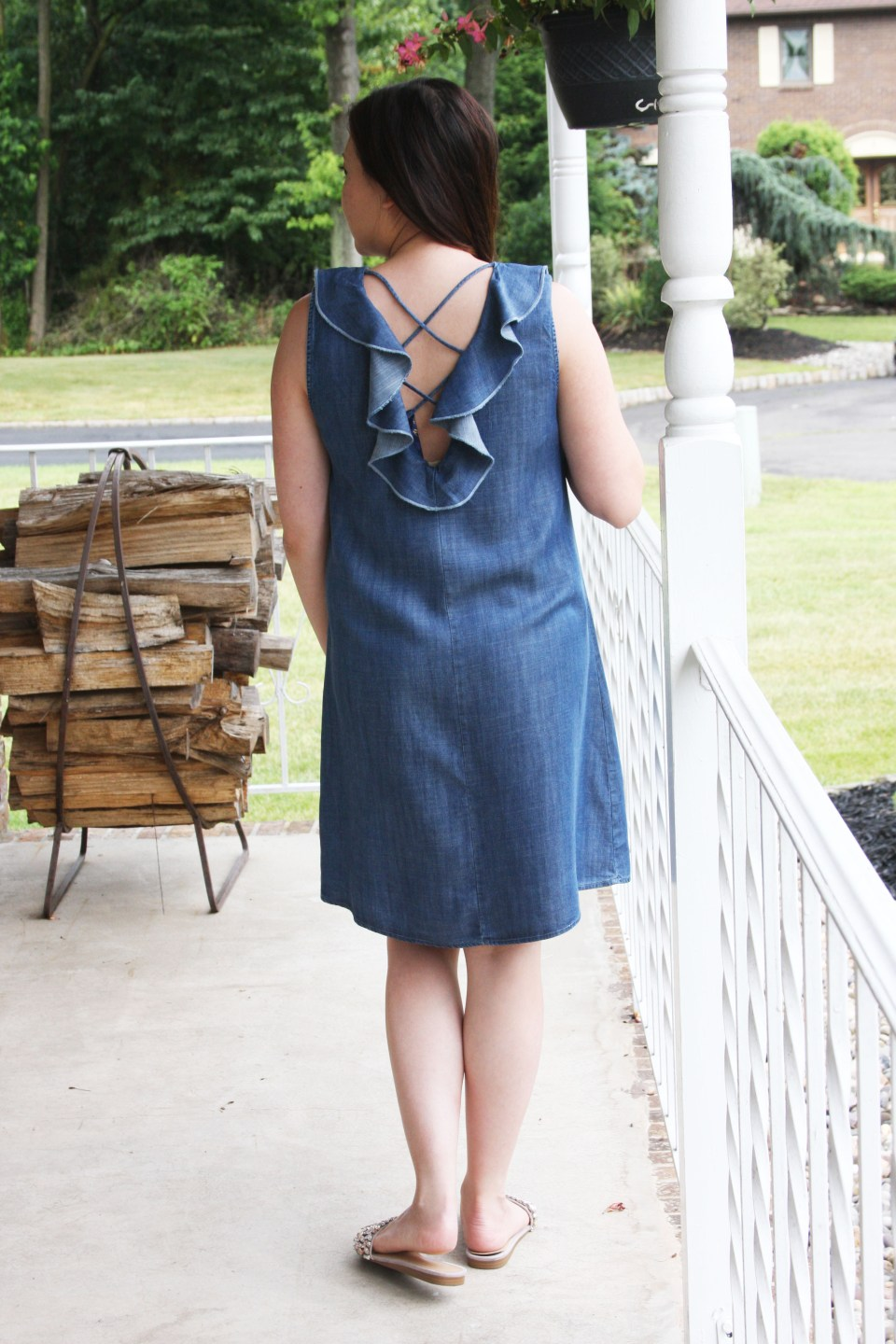 Pearl Embellished Chambray Dress 2