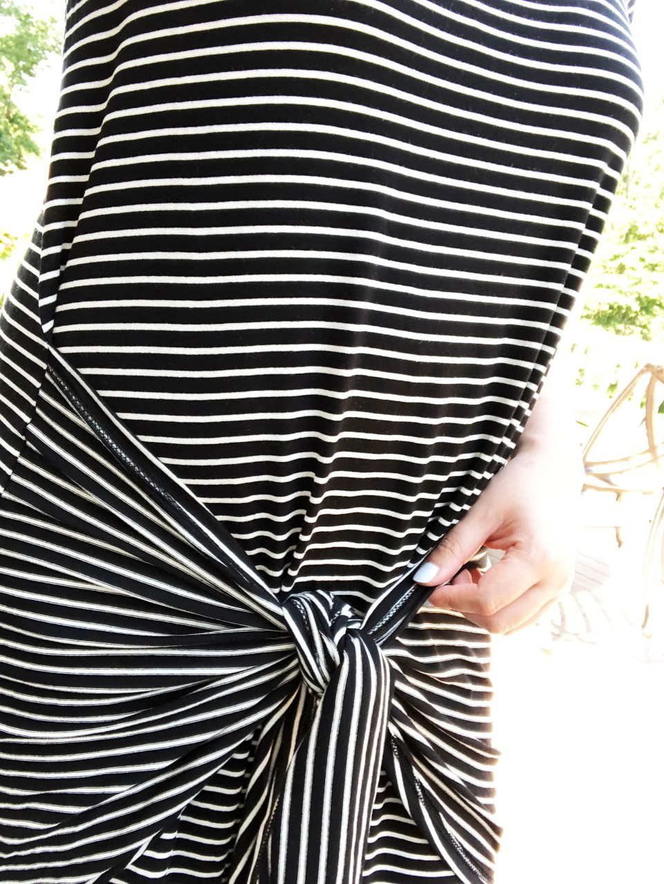 Striped Front Tie High-Low Dress 14