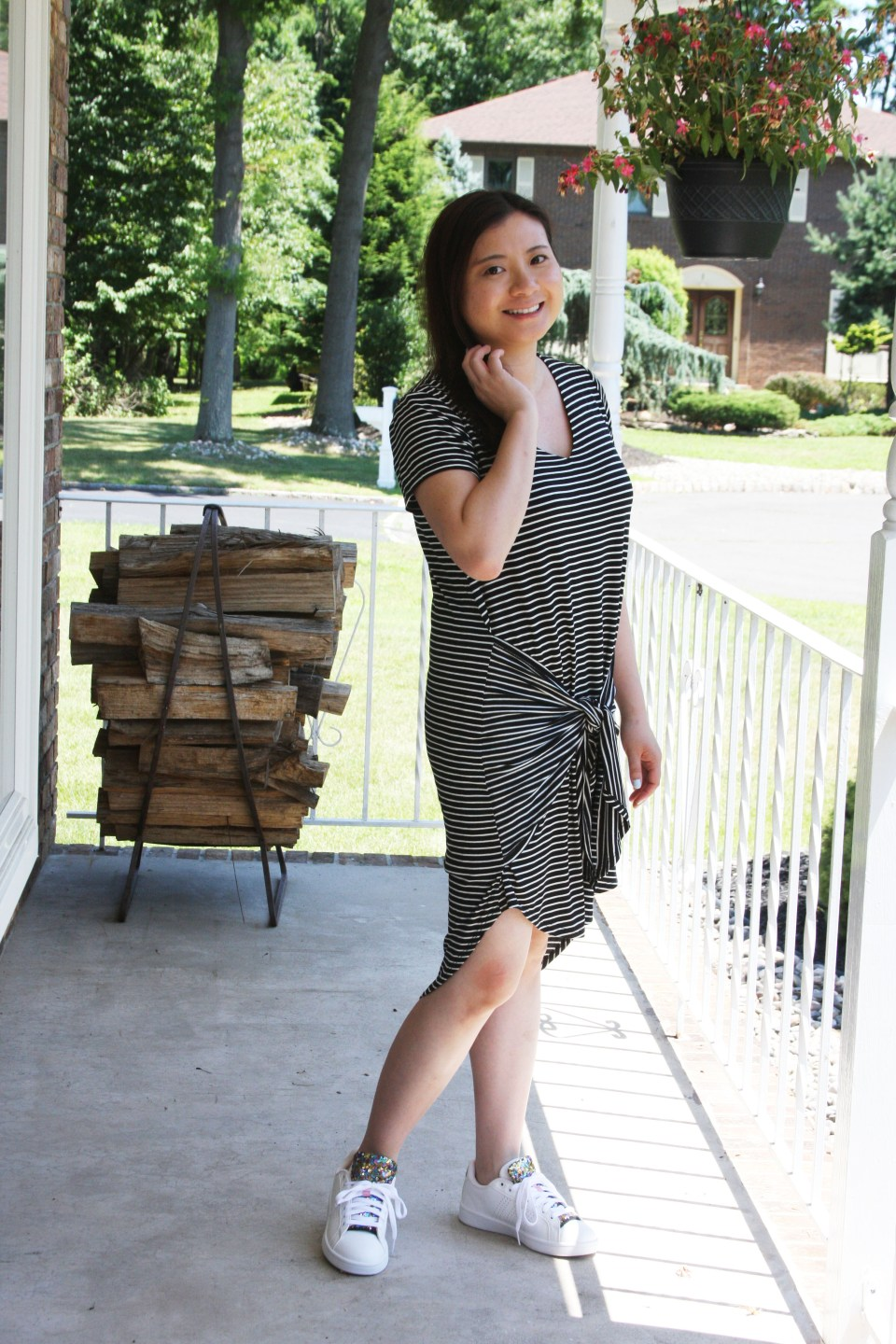 Striped Front Tie High-Low Dress 2