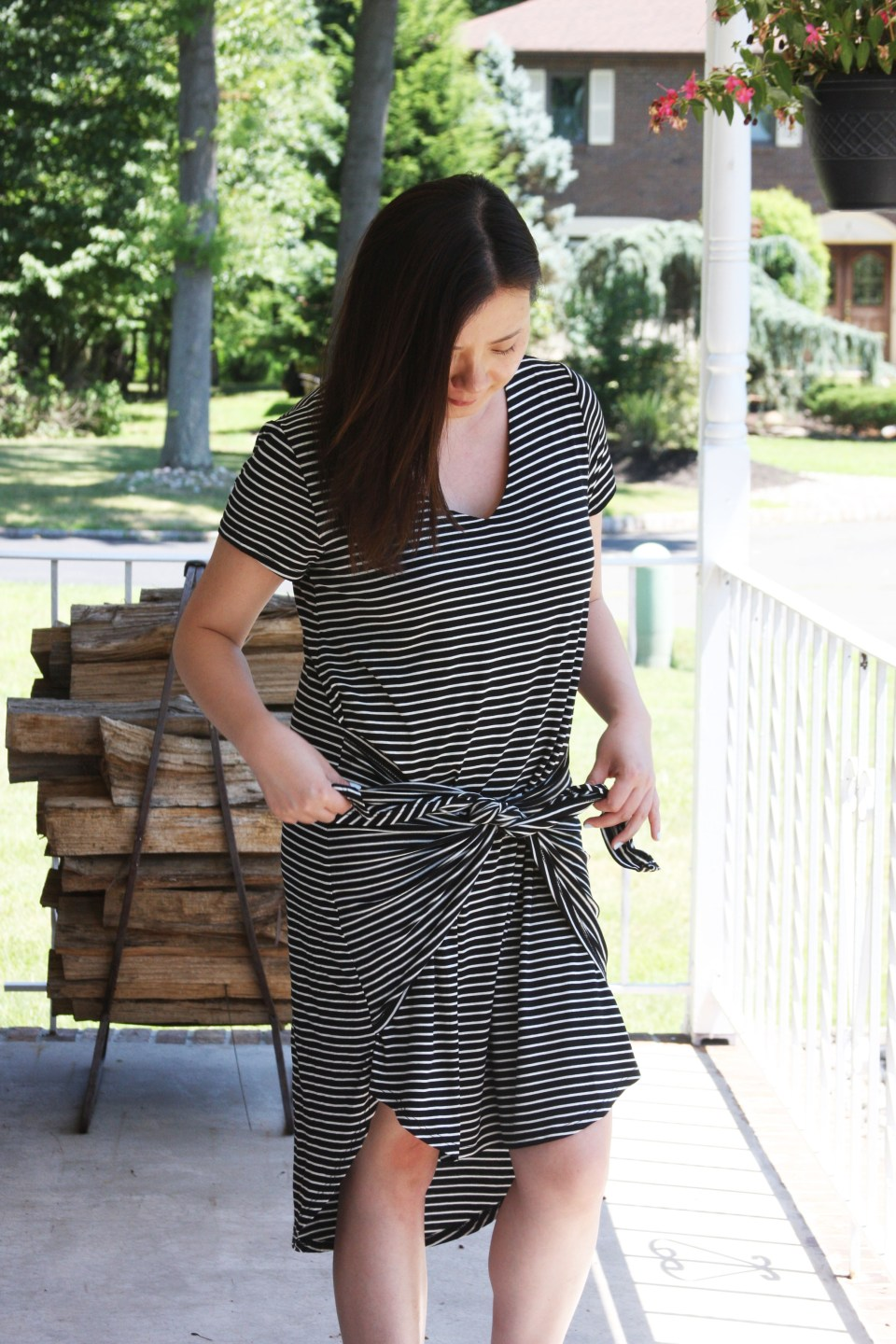 Striped Front Tie High-Low Dress 5