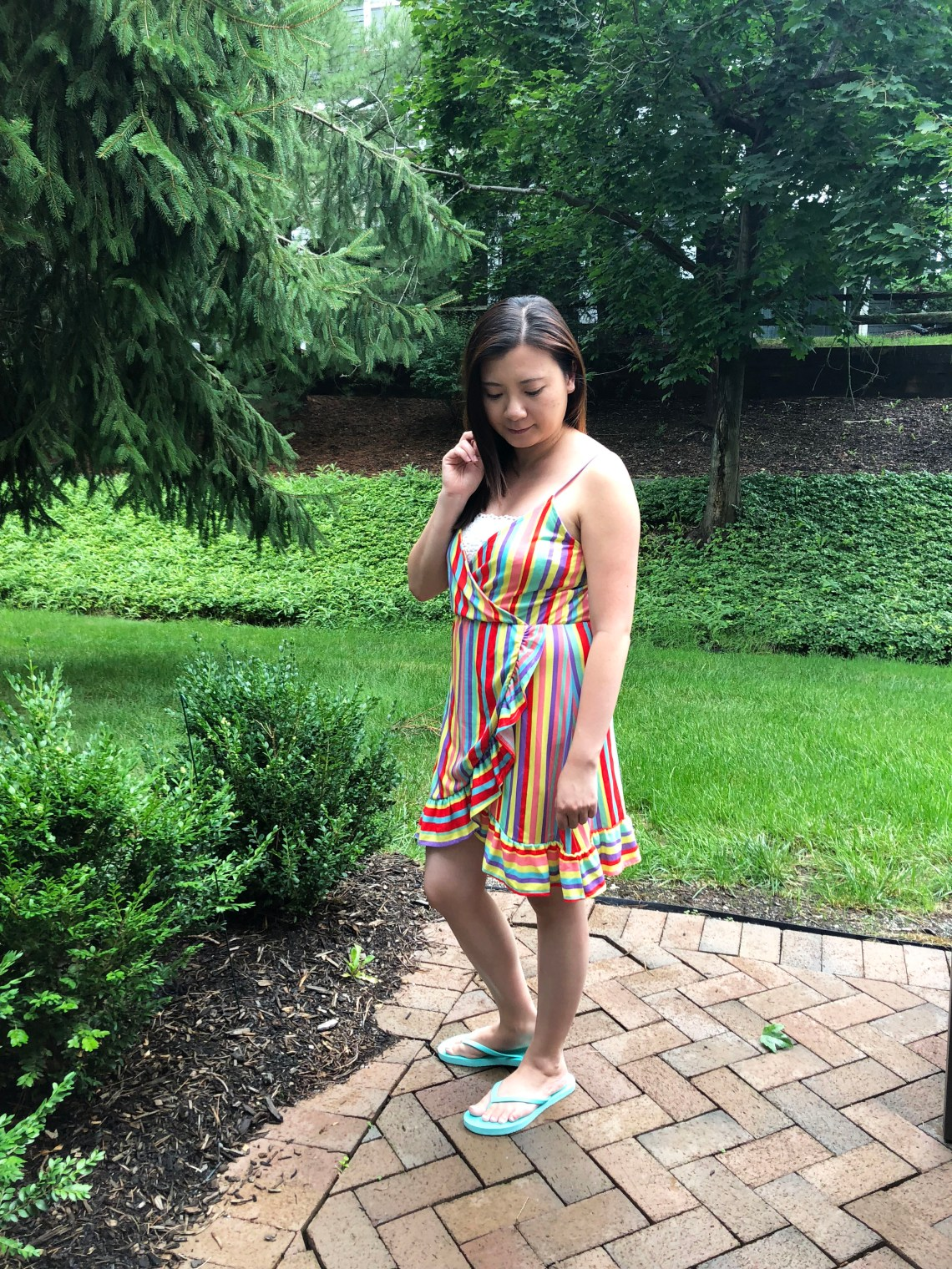 Bright Stripe Wrap Dress