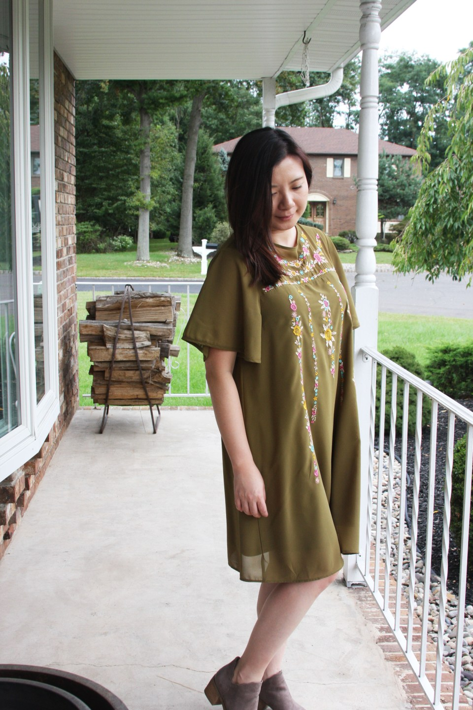 Embroidered Olive Dress 10
