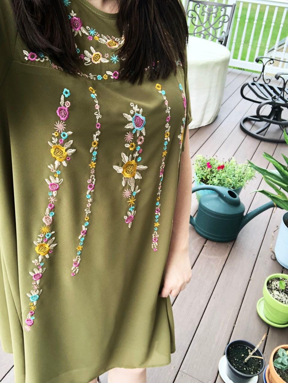 Embroidered Olive Dress 14