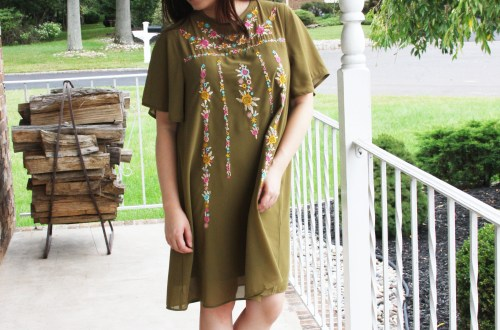 Embroidered Olive Dress