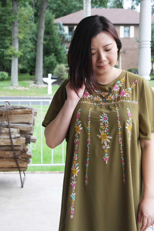Embroidered Olive Dress 8