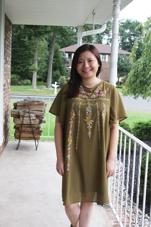 Embroidered Olive Dress 9