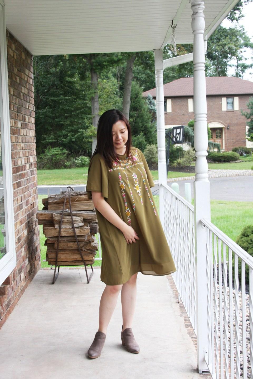 Embroidered Olive Dress