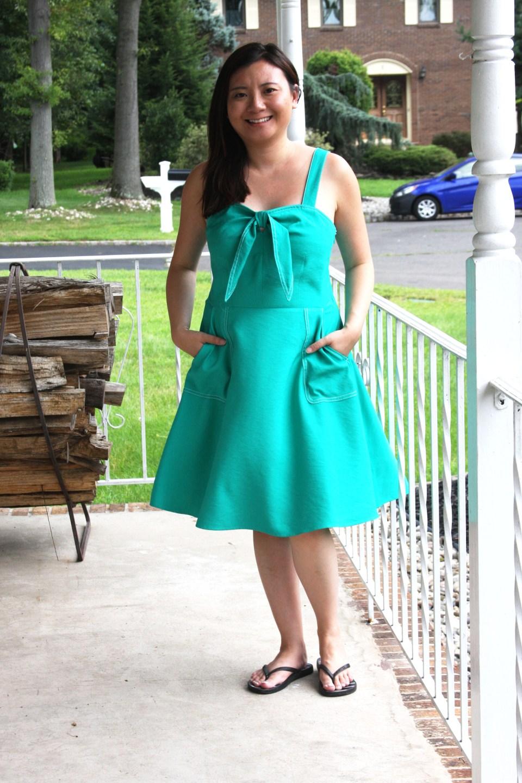 Green Front Tie Dress