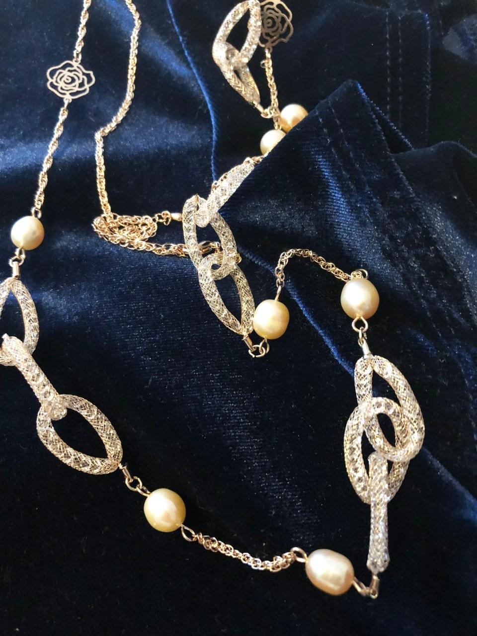 Embellished Necklace + Blue Velvet Top 1