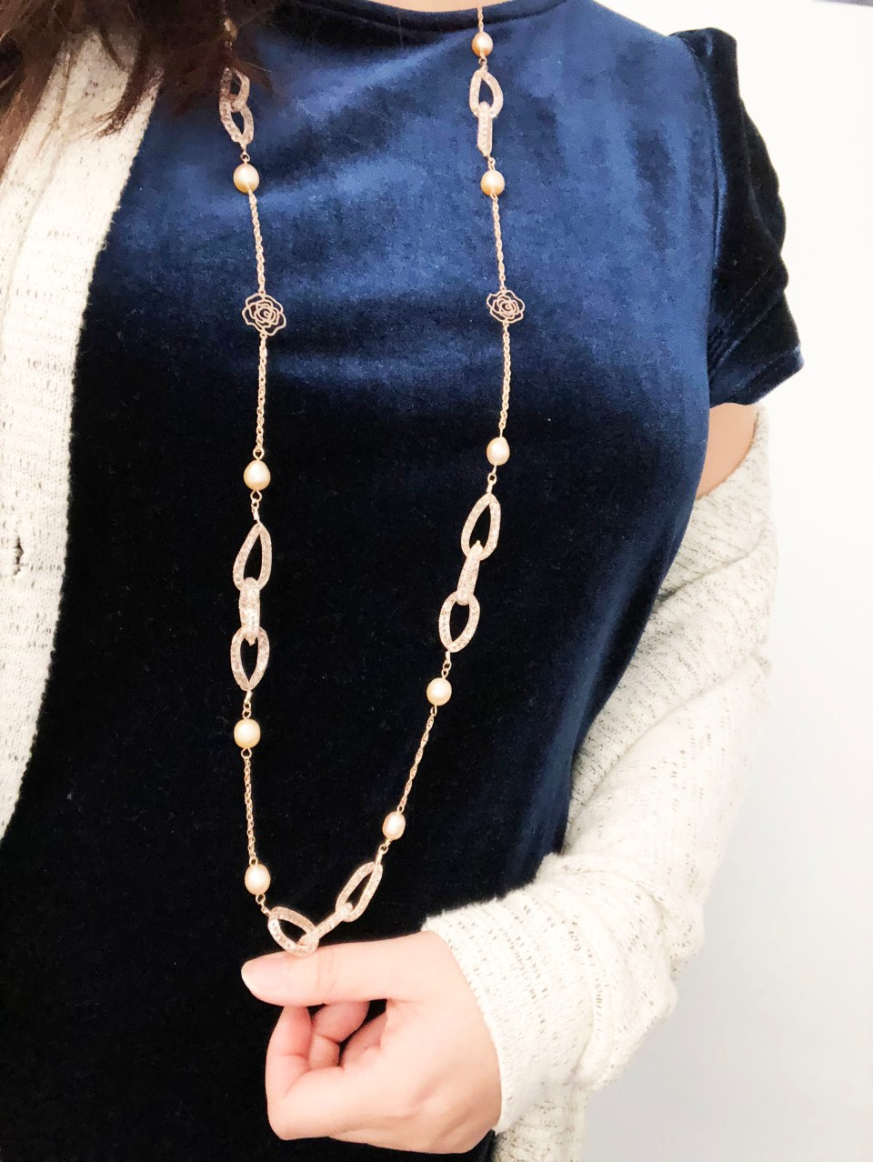 Embellished Necklace + Blue Velvet Top 3